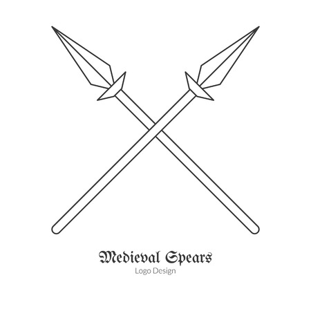 Medieval crossed spears, lances.  in modern thin line style isolated on white background. Outline medieval theme symbol. Simple mono linear pictogram.