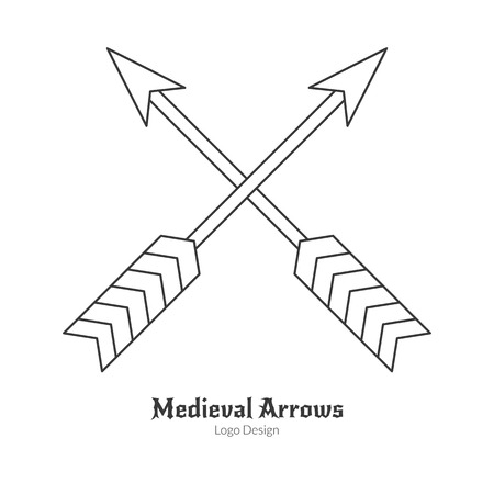 royal person: Medieval crossed arrows. Single archery, weapon , modern thin line style isolated on white background. Outline medieval theme symbol. Simple mono linear pictogram.