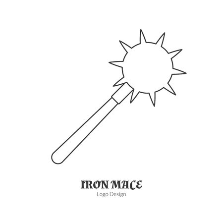 Medieval iron , morning star.  in modern thin line style isolated on white background. Outline medieval theme symbol. Simple mono linear pictogram.