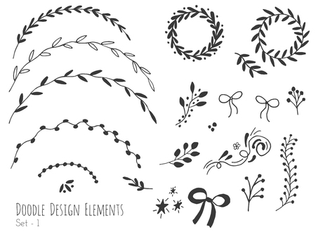 Collection of doodle design elements isolated on white background. Set of borders, laurel wreaths, floral dividers, ribbons. Abstract sketched shapes. illustration.