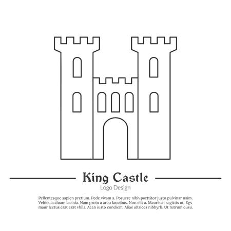 Medieval King castle, tower, fortress. in modern thin line style isolated on white background. Outline medieval theme symbol. Simple mono linear pictogram.
