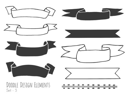 sketched shapes: Collection of  doodle . Doodle design elements isolated on white background. Set of borders, ribbons. Abstract hand sketched shapes. illustration. Illustration