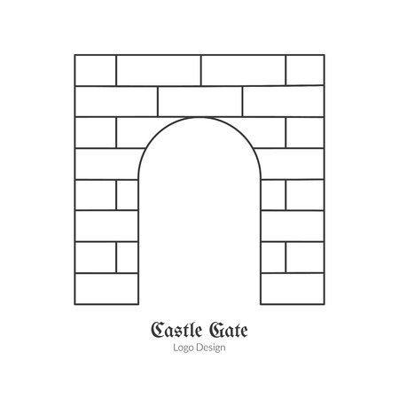 cult: Medieval brick gate. in modern thin line style isolated on white background. Outline medieval theme symbol. Simple mono linear pictogram.