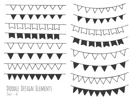 Collection of hand drawn doodle design elements isolated on white background. Set of handdrawn borders. Bunting flags, banners. Abstract hand sketched shapes. Vector illustration. Vectores