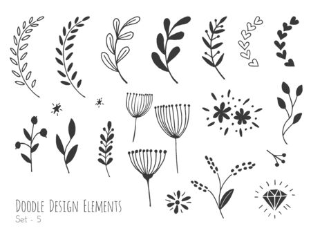 Collection of hand drawn doodle design elements isolated on white background. Set of handdrawn borders, laurel, floral dividers, flowers, diamond. Abstract hand sketched shapes. Vector illustration. Vectores