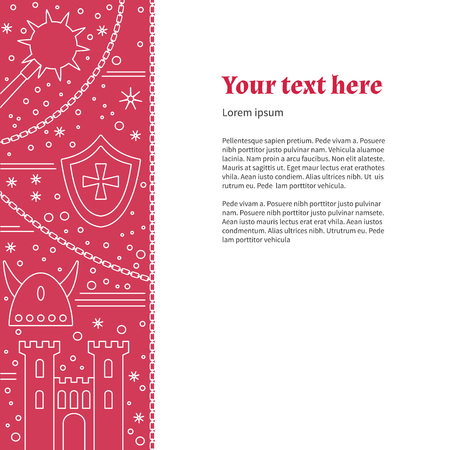 horned: Poster, flyer with medieval line icons, symbols. King castle tower, iron mace, horned Viking helmet, heraldic shield, knight cross, chain. Vector template with medieval design elements, place for text