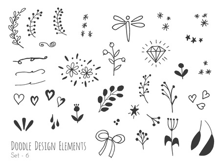 Set of hand drawn doodle design elements isolated on white background. Set of handdrawn borders, laurels, floral dividers, ribbon, leaf, diamond. Abstract hand sketched shapes. Vector illustration.