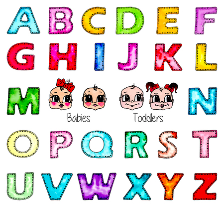Watercolor hand painted kids English alphabet set and cute children faces. Baby girl, boy, toddler girl and boy. Cartoon colorful watercolour letters isolated on white background. Vector illustration.