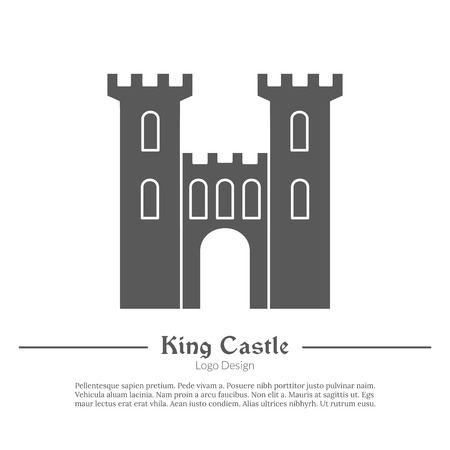 Medieval King castle, tower. Single logo in modern black simple style isolated on white background. Medieval theme silhouette symbol. Simple medieval pictogram, logotype template. Vector illustration.