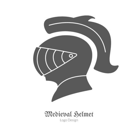 Medieval Knight protection helmet. Single logo in black simple style isolated on white background. Medieval theme silhouette symbol. Simple medieval pictogram, logotype template. Vector illustration.
