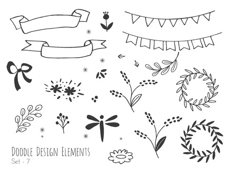 Collection of hand drawn doodle design elements isolated on white background. Set of handdrawn dragonfly, borders, laurel wreath, floral dividers, bunting flags. Sketched shapes. Vector illustration.