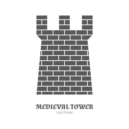 Medieval tower, fortification. Single logo in modern black simple style isolated on white background. Medieval theme silhouette symbol. Simple medieval pictogram logotype template. Vector illustration Vectores