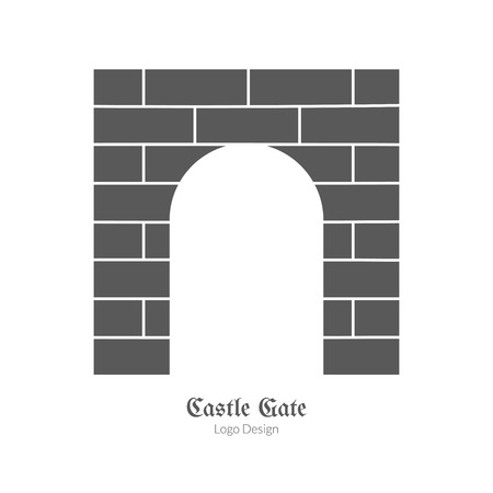 Medieval castle brick gate. Single logo in modern black simple style isolated on white background. Medieval theme silhouette symbol. Simple medieval pictogram, logotype template. Vector illustration. Vectores