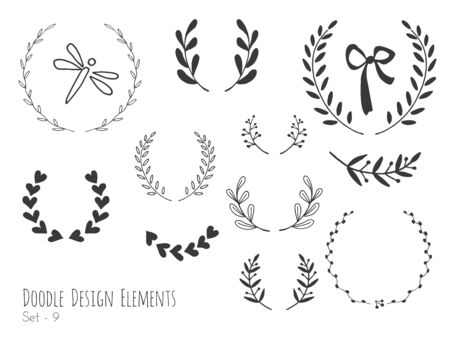 Collection of hand drawn doodle design elements isolated on white background. Set of handdrawn dragonfly, laurel wreaths, floral dividers, ribbon. Abstract hand sketched shapes. Vector illustration.