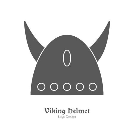 cult: Medieval horned Viking helmet. Single logo, modern black simple style isolated on white background. Medieval theme silhouette symbol. Simple medieval pictogram, logotype template. Vector illustration.