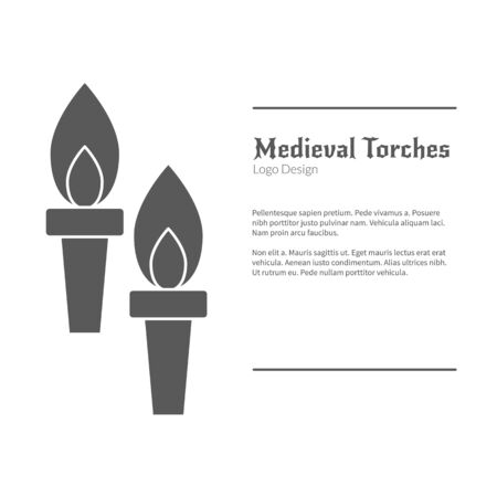 Double torch in black simple style isolated on white layout.