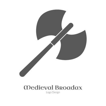 ダブル ax、白いレイアウトに分離された黒のシンプルなスタイルでの広範な斧。