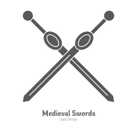 Crossed sword weapons in black simple style isolated on white layout.