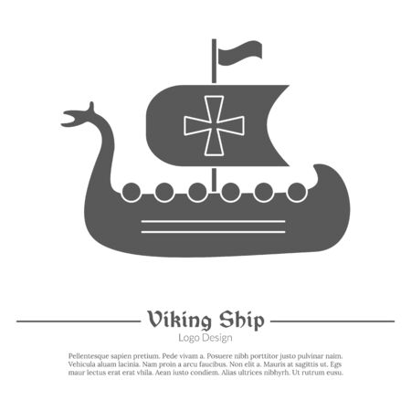 Viking ship in modern black simple style isolated on white layout.