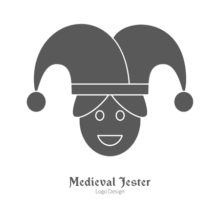 Jester, buffoon or juggler in black simple style isolated on white layout. Vectores