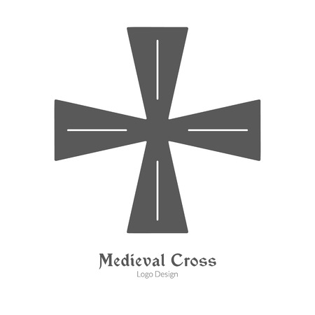 Knight cross, insignia symbol in black simple style isolated on white layout. Çizim