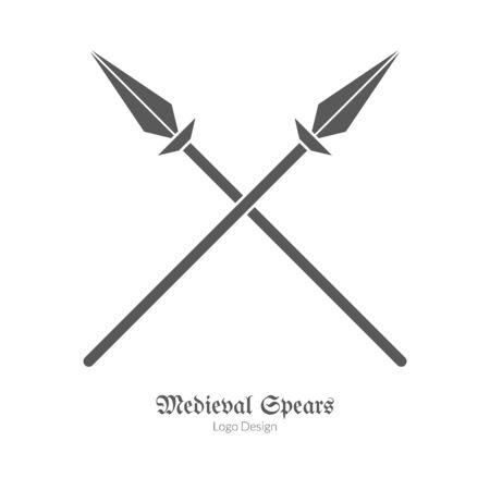 Lanzas cruzadas, lanzas en estilo sencillo negro aislados en el diseño blanco. Foto de archivo - 72242958