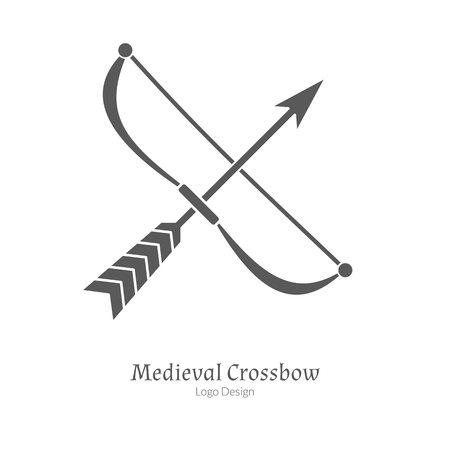 Crossbow in black simple style isolated on white layout.