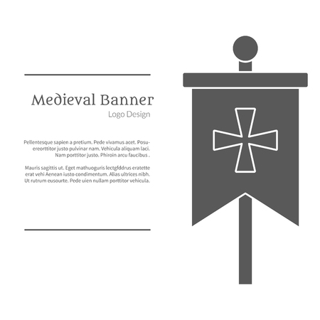 Knight flag in black simple style isolated on white layout.