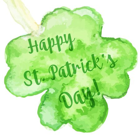 St. Patrick Day greeting card, banner, flyer, poster. Vector illustration. Watercolor template with with four leaf clover clover and modern calligraphy lettering.