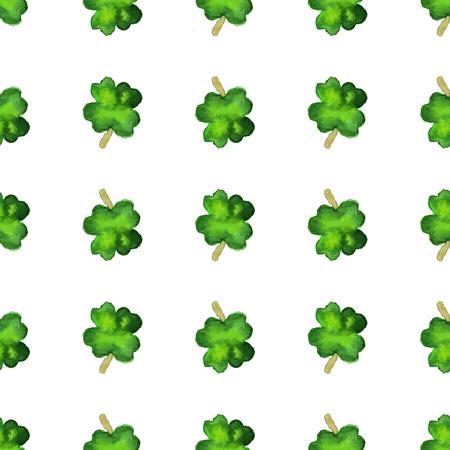 Modelo inconsútil de la acuarela con el trébol de cuatro hojas. Vector de elementos de diseño gráfico aisladas sobre fondo blanco. Primavera, verde, concepto del Día de San Patricio. Foto de archivo - 72579150