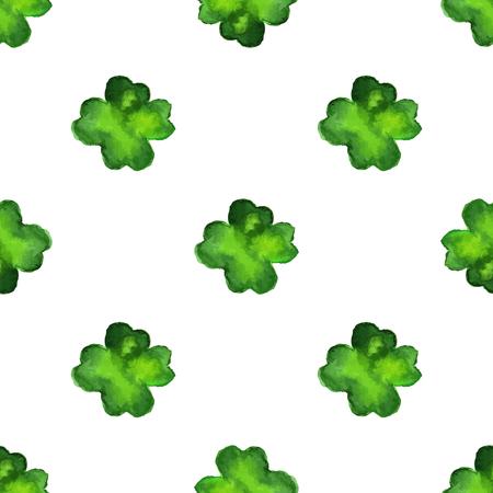 Modelo inconsútil de la acuarela con el trébol de cuatro hojas. Vector de elementos de diseño gráfico aislados en background.Spring blanco,, el concepto de día de San Patricio verde. Foto de archivo - 72579151