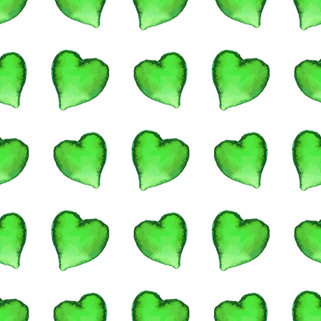 Watercolor seamless pattern with heart shapes. Vector graphic design elements isolated on white background. Spring, green, St. Patricks Day concept.