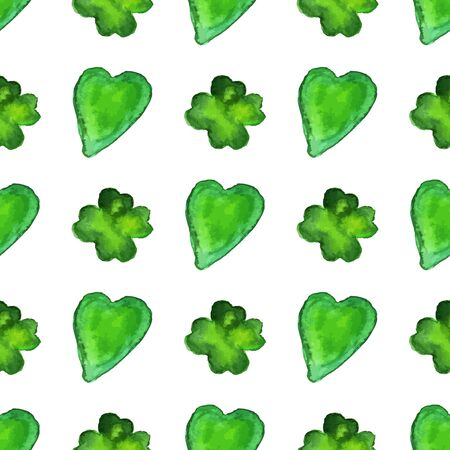 Watercolor seamless pattern with four leaf clover and heart shapes. Vector graphic design elements isolated on white background. Spring, green, St. Patricks Day concept. Vettoriali