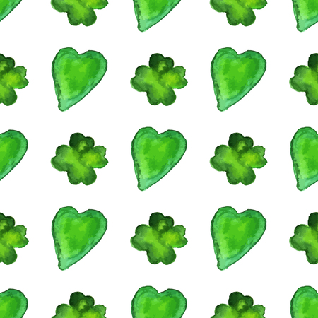 Watercolor seamless pattern with four leaf clover and heart shapes. Vector graphic design elements isolated on white background. Spring, green, St. Patricks Day concept. Archivio Fotografico