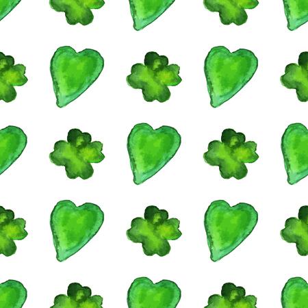 Acuarela de patrones sin fisuras con formas de corazón y trébol de cuatro hojas. Elementos de diseño gráfico de vectores aislados sobre fondo blanco. Primavera, verde, concepto del día de San Patricio. Foto de archivo - 74333693