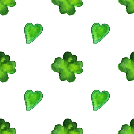 Watercolor seamless pattern with four leaf clover and a heart shapes isolated on white background. Vettoriali