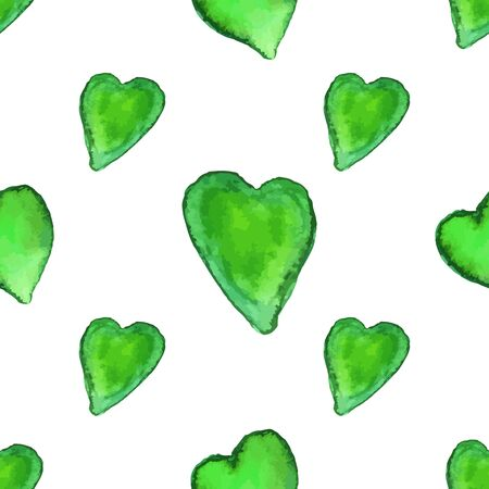 Watercolor seamless pattern with heart shapes isolated on white background. Vettoriali