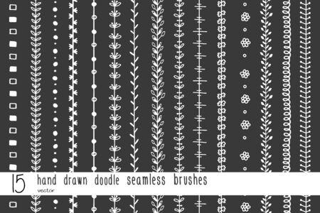 Sistema de elementos decorativos inconsútiles dibujados mano del garabato aislados en fondo negro. Los pinceles vectoriales están incluidos en el panel de pinceles. Foto de archivo - 73609942