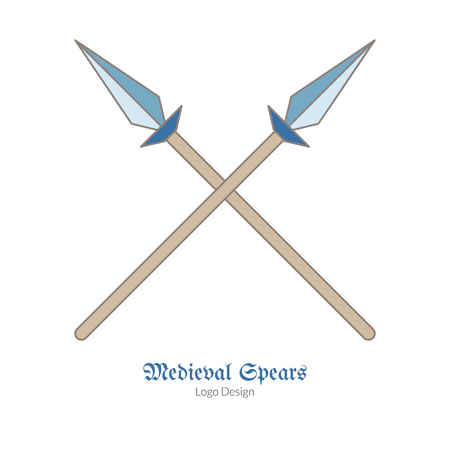 Medieval crossed spears, lances. Single icon in flat and thin line style isolated on white background. Colorful medieval theme symbol. Simple medieval pictogram, icon template. Vector illustration