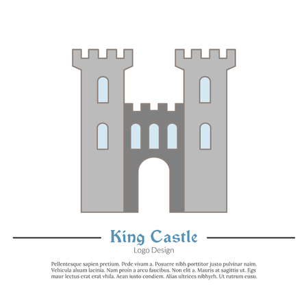 Medieval King castle, tower. Single logo in modern flat, thin line style isolated on white background. Vettoriali