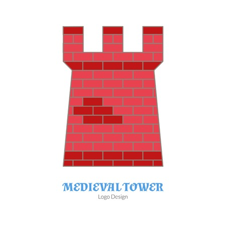 Medieval tower, fortification. Single logo, modern flat, thin line style isolated on white background. Colorful medieval theme symbol. Simple medieval pictogram logotype template. Vector illustration. Vettoriali