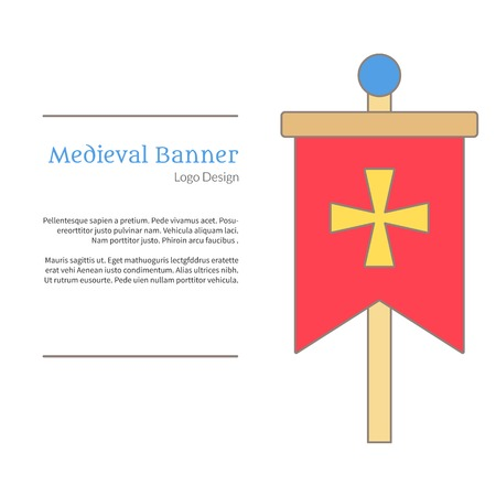 Medieval banner, knight flag. Single logo in flat and thin line style isolated on white background. Colorful medieval theme symbol. Simple medieval pictogram, logotype template. Vector illustration.