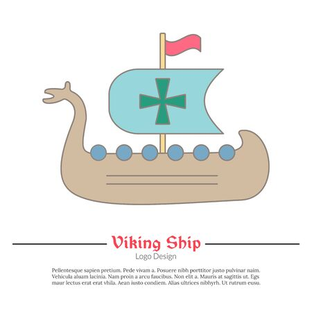 Medieval Viking ship, boat. Single icon, modern flat and thin line style isolated on white background. Colorful medieval theme symbol. Simple medieval pictogram, icon template. Vector illustration