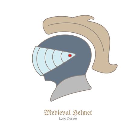 Casco medieval de la protección del caballero. Único logotipo en línea plana, delgada estilo aislado sobre fondo blanco. Foto de archivo - 75320499