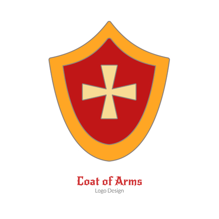 Medieval heraldic shield. Single icon in modern flat and thin line style isolated on white background. Colorful medieval theme symbol. Simple medieval pictogram, icon template. Vector illustration