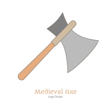 Medieval guard, battle axe, broadax isolated on white background. Vettoriali