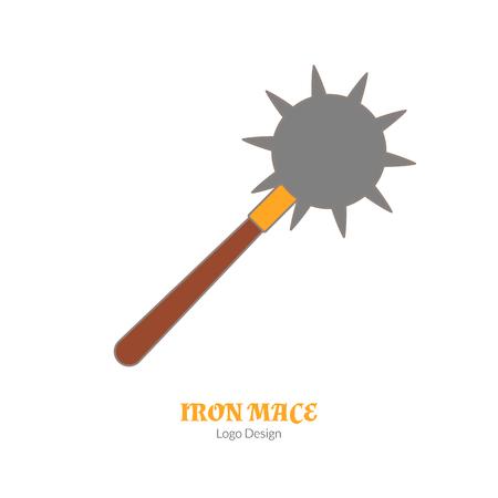 Maza medieval del hierro, estrella de la mañana aislada en el fondo blanco. Foto de archivo - 75320867