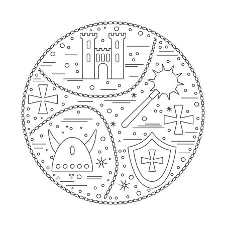 Iconos medievales, símbolos en la composición redonda. Torre del castillo del rey, maza de hierro, casco viking de cuernos, escudo heráldico, cruz del caballero, cadena. Elementos de diseño medieval aislados en blanco. Vector de la plantilla. Foto de archivo - 75556221