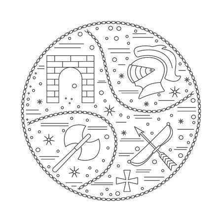 Iconos medievales, símbolos en la composición redonda. Casco de caballero, puerta del castillo medieval, hacha doble, ballesta, cruz de caballero, cadena. Elementos de diseño medieval aislados sobre fondo blanco. Plantilla de Vector Foto de archivo - 75556222