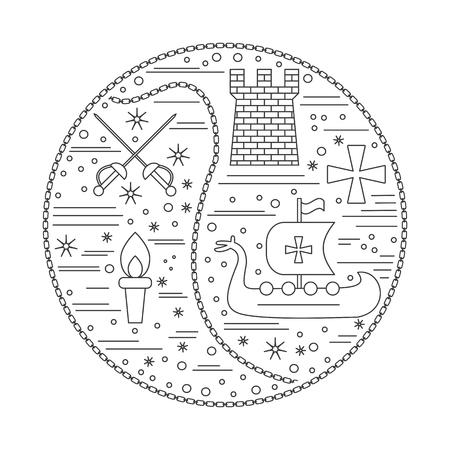 Iconos medievales, símbolos en composición redonda. Sables cruzados, torre medieval, antorcha, barco vikingo, caballero cruzado, cadena. Elementos de diseño medievales aislados sobre fondo blanco. Plantilla de vector. Foto de archivo - 75556220